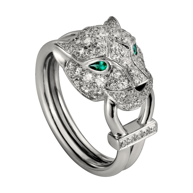 Cheap Custom Panthere de Cartier ring in 18k white gold