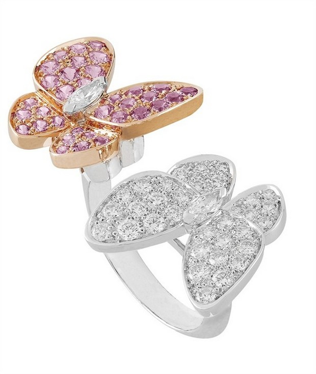 Van Cleef Two Butterfly Between the finger ring